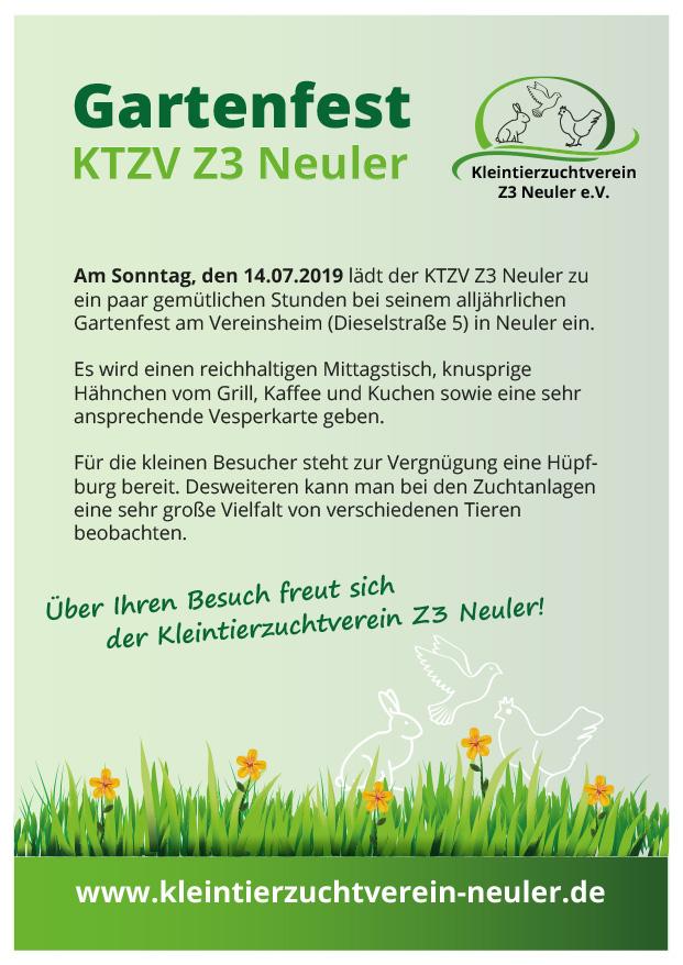 Einladung Gartenfest Juli 2019